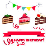 Colorful sweet cakes slices pieces  on white background, ribbons and flags with happy birthday. Royalty Free Stock Photos
