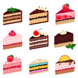Colorful sweet cakes slices pieces  on white background Royalty Free Stock Photo