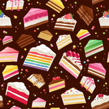 Colorful sweet cakes slices seamless background. Stock Image