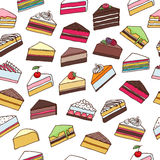 Colorful sweet cakes slices seamless pattern Royalty Free Stock Images