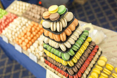 Colorful sweet candies pastry pyramid macarons Stock Photography