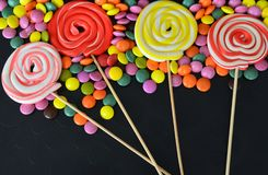 Colorful sweet candy. Pink, yellow and green candies Royalty Free Stock Photo