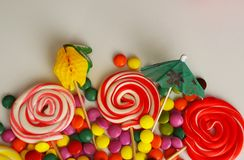 Colorful sweet candy. Pink, yellow and green candies Stock Image