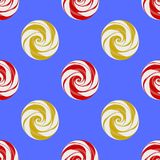 Colorful Sweet Candy Seamless Pattern. On Blue Background Royalty Free Stock Photos