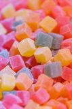 Colorful sweet cubic cut fruity Turkish delight lo. Colorful sweet cubic cut fruity Turkish Royalty Free Stock Photography