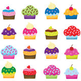 Colorful Sweet Cupcakes. A Vector Illustration of Colorful Sweet Cupcakes Royalty Free Stock Images