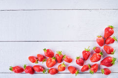Colorful sweet fruit mix of strawberry  on wintage white wooden Stock Image