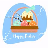 Colorful sweet Happy Easter greeting card. Vector images of easter symbols. Painted egg, Easter cake. Opening, illustration for a Royalty Free Stock Photo