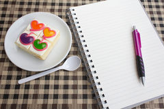 Colorful sweet heart  coffee cake for healthy Stock Image