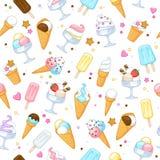 Colorful sweet ice cream icons background. Colorful sweet ice cream icons seamless background. Vector illustration Royalty Free Stock Photography