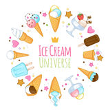 Colorful sweet ice cream icons background Stock Photo