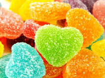 Colorful sweet jelly heart shape close up on white background Stock Photography