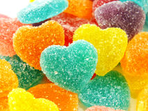 Colorful sweet jelly heart shape close up on white background Royalty Free Stock Photo