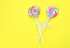 Colorful Sweet Lollipops in clear plastic wrap Stock Images