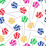 Colorful sweet lollipops seamless white pattern eps10 Stock Photos