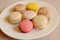 Colorful sweet macaroon with tea Stock Images