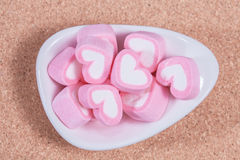 Colorful sweet marshmallow  in a white-ware. Stock Photos