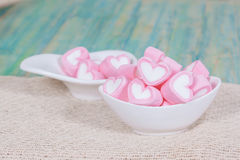 Colorful sweet marshmallow  in a white-ware. Stock Photography