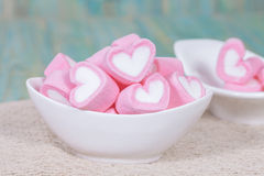 Colorful sweet marshmallow  in a white-ware. Stock Images