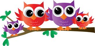 Colorful sweet owl family sitting on a branch stock illustration