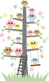 Colorful sweet owl in a tree. Print pattern or wall decoration vector illustration
