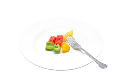 Colorful Sweet Pepper With Fork. Stock Photo