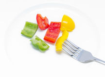Colorful Sweet Pepper With Fork. Stock Image