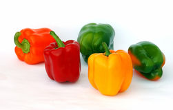 Colorful sweet peppers. Isolated on white landscape Stock Photography