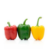 Colorful of Sweet peppers isolate on white background. Colorful of Sweet peppers or bell peppers Stock Photo