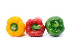 Colorful of Sweet peppers isolate on white background. Colorful of Sweet peppers or bell peppers Royalty Free Stock Image
