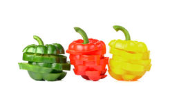Colorful sweet peppers. Isolated on white background Royalty Free Stock Photo