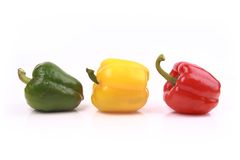 Colorful sweet peppers isolated on white background Royalty Free Stock Image