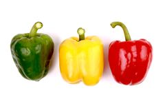 Colorful sweet peppers isolated on white background Royalty Free Stock Photo