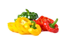 Colorful sweet peppers on white background. Royalty Free Stock Images