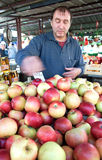 Colorful sweet, red apples on market stall in Belgrade, Serbia Stock Photo