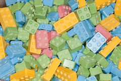 Colorful sweet and sour candy building blocks Royalty Free Stock Images