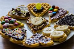 Homemade sweet Waffles Stock Images