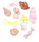 Colorful sweeties as cookies, candies, cupcakes drawn by watercolor. In pastel colors Royalty Free Stock Photography