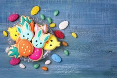 Colorful sweets. On a blue wooden background Stock Photo