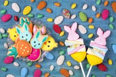 Colorful sweets. On a blue wooden background Royalty Free Stock Image
