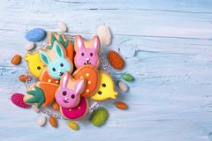 Colorful sweets. On a blue wooden background Stock Image