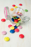 Colorful sweets in a glass jar Royalty Free Stock Photos