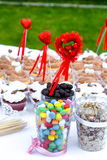 Colorful sweets with hearts Stock Photo