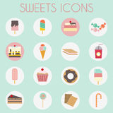 Colorful Sweets Icons Set, Bakery Ice Creams Stock Photos