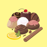 Colorful sweets icons set - candy. With lemon Stock Photo