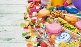 Colorful sweets and items for children's birthdays Stock Photos