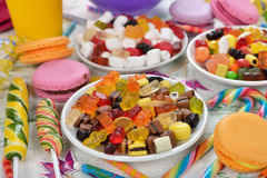 Colorful sweets and items for children's birthdays Royalty Free Stock Photos