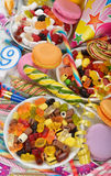 Colorful sweets and items for children's birthdays Royalty Free Stock Image