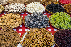 Colorful sweets in open market. Delicious sweets in open market stock photos