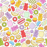 Colorful sweets pattern. Assorted candies. Stock Photo